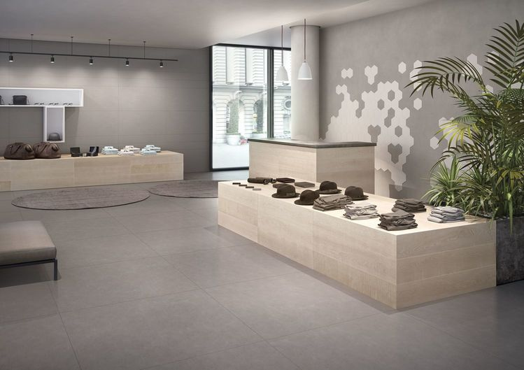 Elements DESIGN Grey 120x120-60x120-20x120 cm nat RT Elements NATURAL Sand 20x120 cm nat RT Elements DESIGN Silver esagona 25x21,6 cm