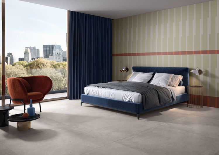 Bedroom / FLOOR IKON SILVER 120x120 - WALL DECORO A RILIEVO 120x278