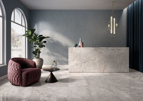 Polished marble effect stoneware tiles - Elements Lux