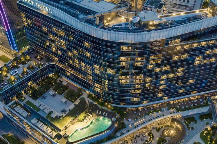 Hotel a Hong Kong con pavimentazione effetto legno