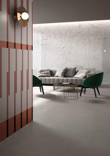 Living / FLOOR DESIGN GREY 120X120 - WALL ECLETIC MISTIQ WHITE 120X278 DECORO A RILIEVO 120x278