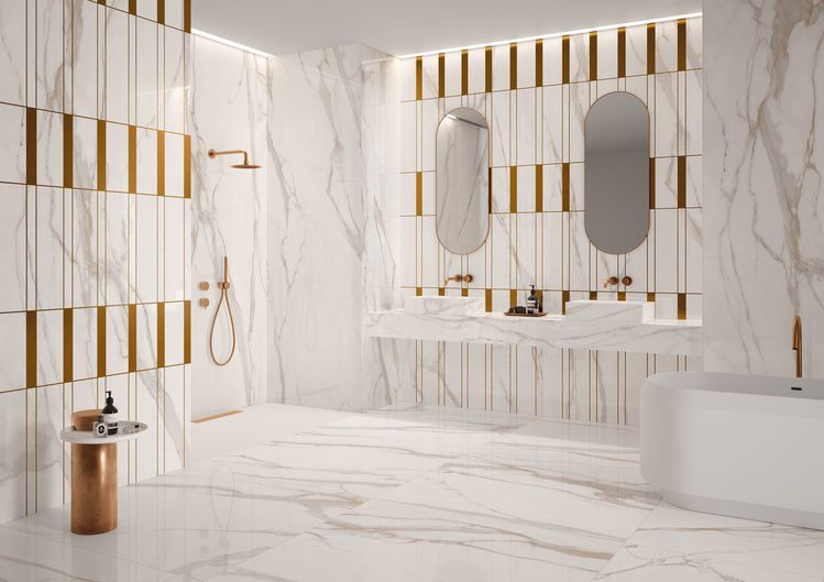 Bathroom / FLOOR CALACATTA GOLD 120x120 - WALL DECORO MATERICO 120x278 HOME DECOR PLUS ATELIER LAVELLO DA APPOGGIO CON BASE CALACATTA GOLD 50x160