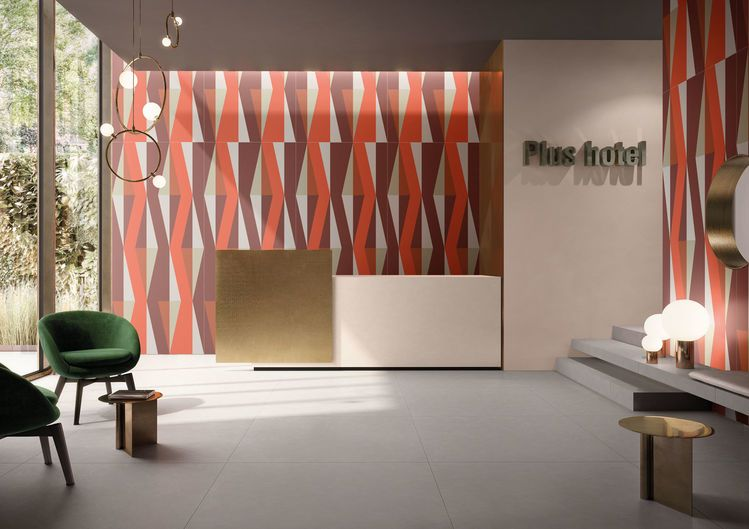 Reception / FLOOR DESIGN GREY 120x120 - WALL DECORO DIGITALE 60x120