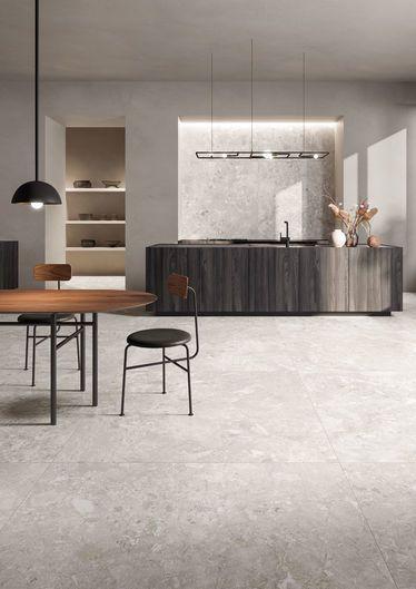 sol blanc avec ardoise effet pierre